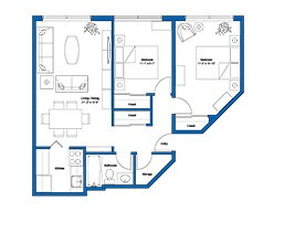 2 Bedrooms apartmen plan - thecrossways
